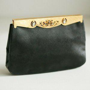 Vintage Rosenfled Black Brushed Leather clutch